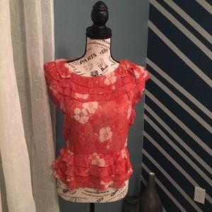 Marc Jacobs Women's 100% Silk Ruffle Blouse